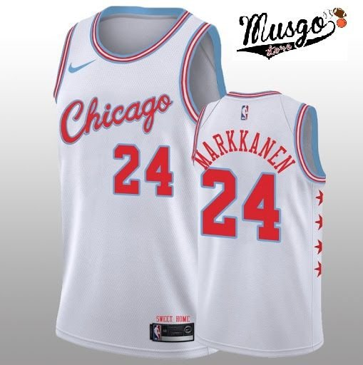 Camiseta Esportiva Regata Basquete NBA Chicago Bulls Lauren Markkanen Numero 24 City Edition Branca