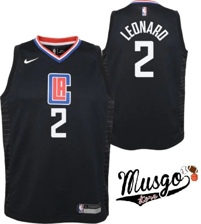 Camiseta Esporte Regata Basquete Los Angeles Clippers Kawhi Leonard Número 2 Preta