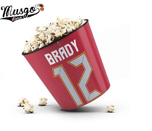 Balde de Pipoca Esporte Futebol Americano NFL Tampa Bay Buccaneers Tom Brady Número 12 Vermelho
