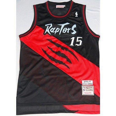 Camiseta Regata Basquete NBA Toronto Raptors Dino Vince Carter Número 15 Preta e Vermelha Edição Limitada