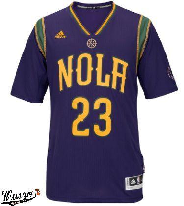 Camisa Esporte Basquete NBA New Orleans Pelicans Anthony Davis Número 23 Roxa com mangas