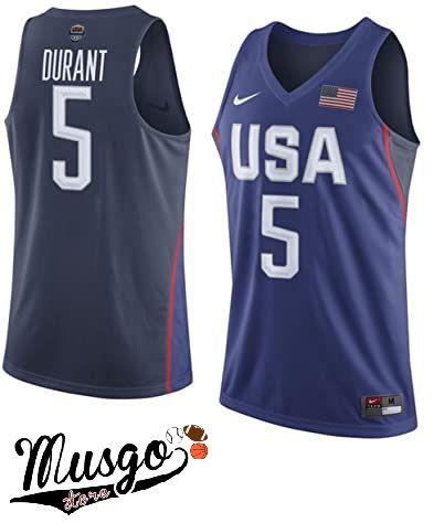 Camiseta Regata Basquete Seleção Americana Rio 2016 Kevin Durant Número 5 Azul