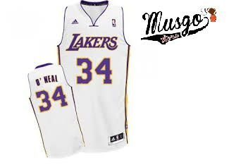 Camiseta Esporte Regata Basquete NBA Los Angeles Lakers Shaq O´neal Número 34 Branca