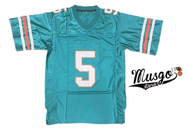 Camisa Esporte Futebol Americano Miami Dolphins Filme Ace Ventura Ray Finkle Número 5 Verde