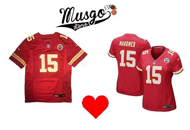 Combo Dia dos Namorados Esporte Futebol Americano NFL Kansas City Chiefs Pat Mahomes Número 15 Vermelho