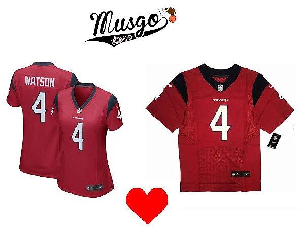 Combo Dia dos Namorados Esporte Futebol Americano NFL Houston Texans Watson Número 4 Vermelho