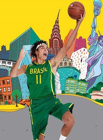 Camiseta Esporte Regata Basquete Seleção Brasileira Anderson Varejão Número 11 Verde