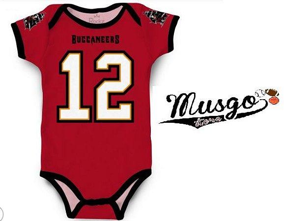 Body Infantil Futebol Americano NFL Tampa Bay Buccaneers Numero 12 Vermelho