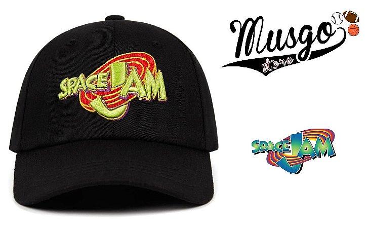 Boné Aba Curva  Esporte Basquete Filme Space Jam Logo Preto