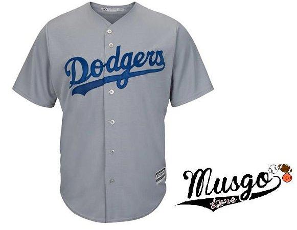 Camisa Esporte Baseball MLB Los Angeles Dodgers CInza
