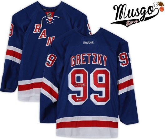 Camisa Esporte Hockey no Gelo NHL New York Rangers Wayne Gretzky Número 99 Azul