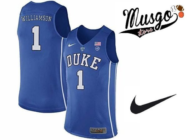 Camiseta Nike Regata Esporte Basquete Universitário Duke Zion Williamson Número 1 Azul