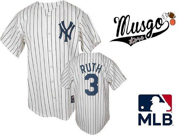 Camisa Esporte Baseball MLB New York Yankees Babe Ruth Número 3 Branca Listrada