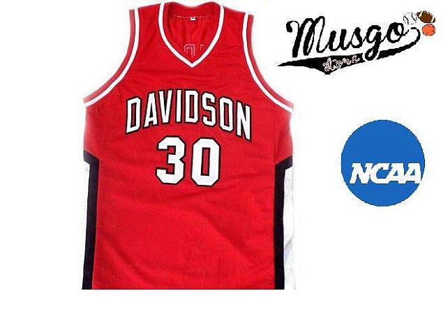 Camiseta Nike Regata Esporte Basquete Universitário NCAA Davidson Steph Curry Número 30 Vermelha