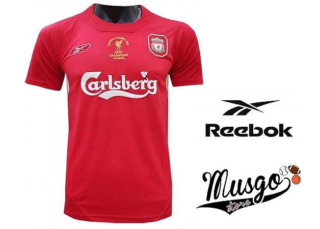 Camisa Reebok Esporte Futebol Liverpool 2005 Steven Gerrard Número 8 Vermelha