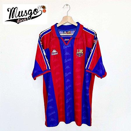 Camisa Kappa Esporte Futebol Barcelona 1996 Ronaldo Número 9 Listrada