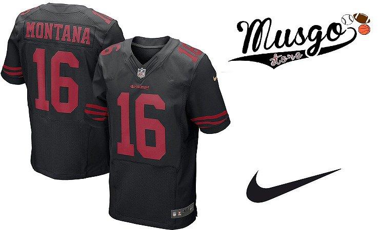 Camisa Nike Esporte Futebol Americano NFl San Francisco 49ers Joe Montana Número 16 Preta
