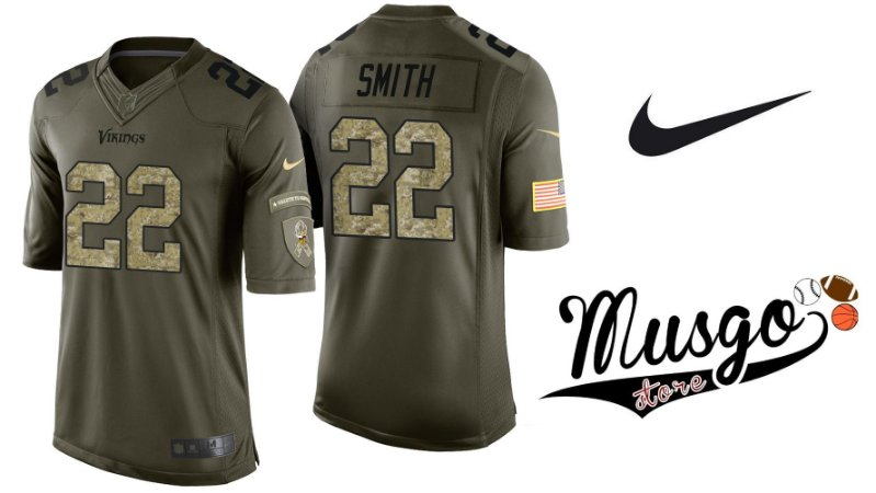 Camisa Nike Esporte Futebol Americano NFL Minnesota Vikings Harisson Smith Número #22 Edição Especial Salute Militar Verde