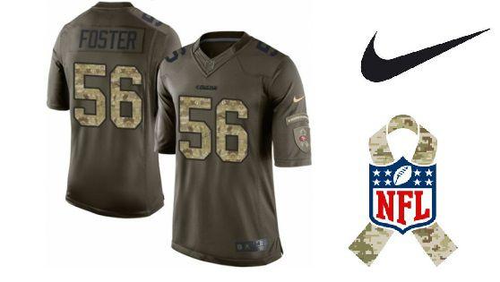 Camisa Nike Esporte Futebol Americano NFL San Francisco 49ers Rouben Foster Número #56 Salute Militar Verde