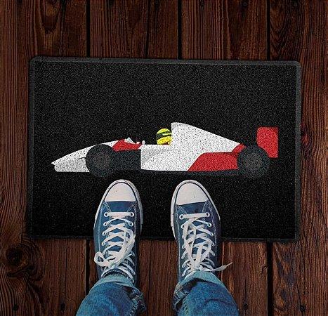 Tapete capacho esporte Temático Fórmula 1 Ayrton Senna Preto