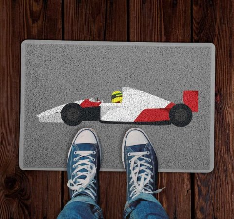 Tapete capacho esporte Temático Fórmula 1 Ayrton Senna Cinza