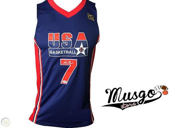 Camiseta Regata Basquete Seleção Americana Dream Team Barcelona 1992 Larry Bird Número 7 Azul