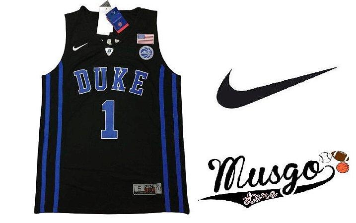 Camiseta Nike Regata Esporte Basquete Universitário NCAA Duke Blue Devils Zion Williamson Número 1 Preta