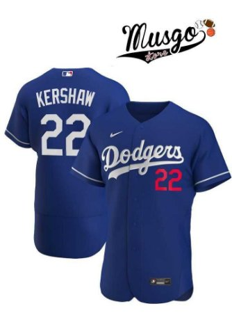 Camisa Esporte Nike MLB Los Angeles Dodgers Clayton Kershaw Número 22 Azul