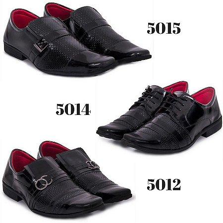8912f66b169f8 Kit 3 Sapatos Sociais Couro Sintético Masculino Eleganci Verniz  5012 5014 5015