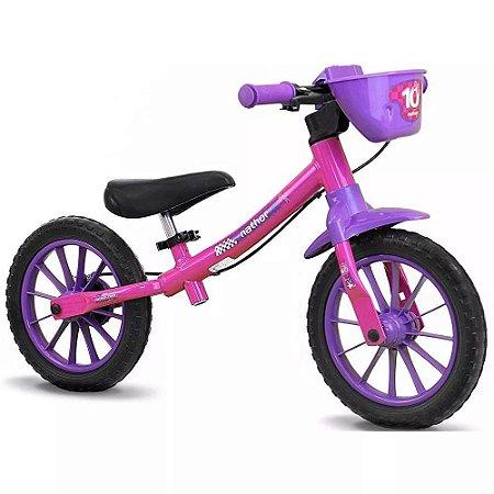 Bicicleta Infantil Sem Pedal Equilíbrio Balance Feminina - Nathor