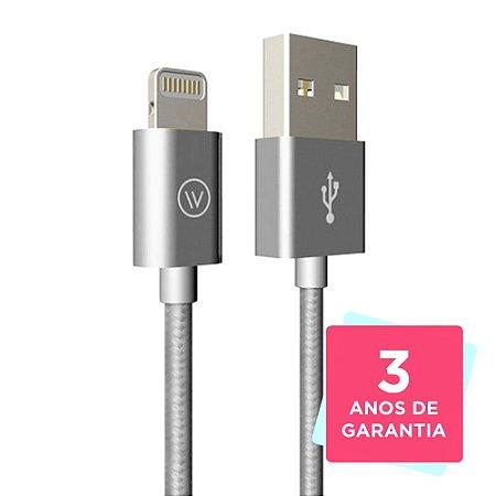 Cabo USB Lightning Tough 1,2m iPhone/iPad Prata - iWill