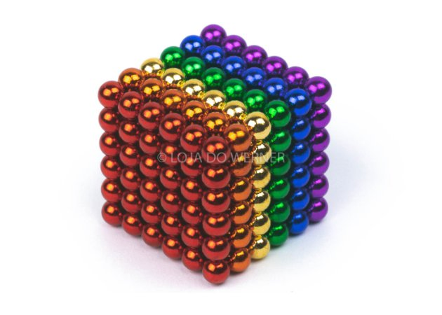 Cubo Magnético colorido 216 Esferas Magnéticas Brinquedo 5mm