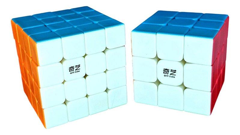Cubo Mágico Profissional QiYi sem adesivo Kit 3x3x3 e 4x4x4