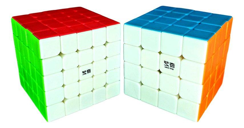 Cubo Mágico Profissional QiYi sem adesivo Kit 4x4x4 e 5x5x5