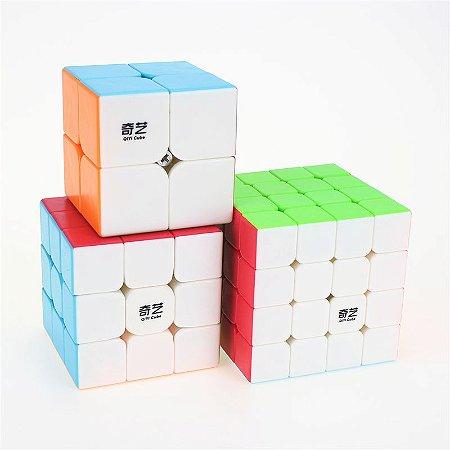 Cubo Mágico Profissional QiYi sem adesivo Kit 2x2, 3x3 e 4x4