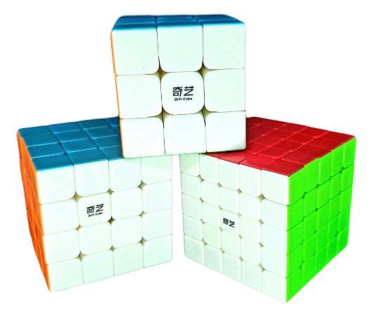 Cubo Mágico Profissional QiYi sem adesivo Kit 3x3, 4x4 e 5x5