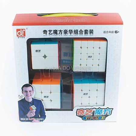 Kit Cubo Mágico Profissional QiYi 2x2, 3x3, 4x4 e 5x5