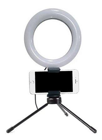 Iluminador Ring Light Pro Led Com Suporte De Mesa 3 Cores