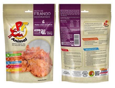 Petisco Natural Peito de Frango Desidratado - PF Animal 100g