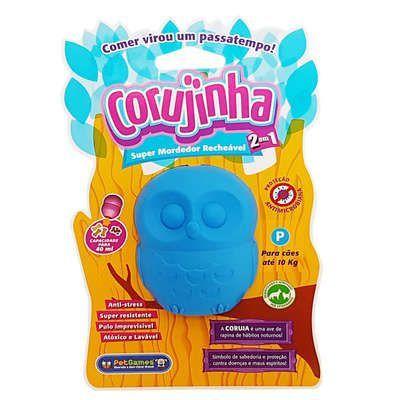 Corujinha Azul - Brinquedo mordedor e recheável
