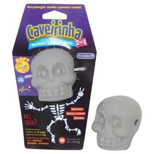 Caveirinha - Brinquedo Mordedor Soft Cinza