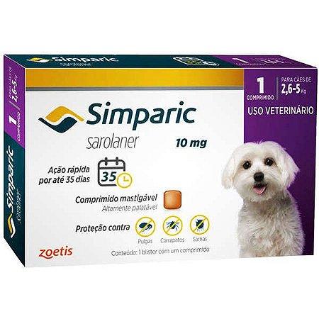 Simparic antipulgas para cães de 2,6 a 5 kg - 1 comprimido