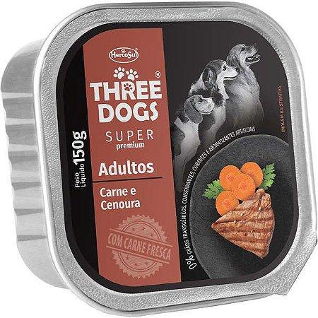 Patê Carne e Cenoura 150g - Three Dogs Cães Adultos