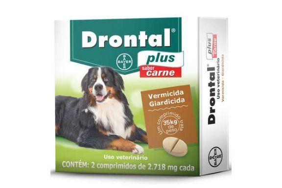Vermífugo Drontal Plus Sabor Carne - 35kg com 2 Comprimidos Bayer