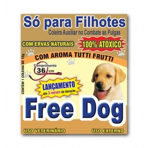 Coleira Free Dog Auxiliar Contra Pulgas - Cães Filhotes 12g