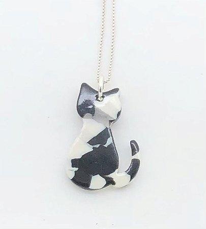 Gato Acrílico Branco e Preto
