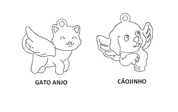 Cãojinho e Gato Anjo Berloques