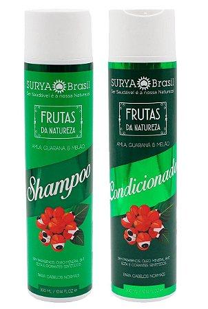 Shampoo e Condicionador Amla, Guaraná e Melão Frutas da Natureza, Surya Brasil