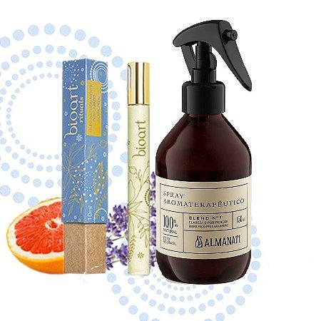 Kit Antiestresse: Óleo Perfumado Roll On Alma Feliz + Spray Aromaterapêutico Alegria/ Criatividade