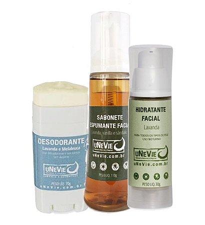 Kit Unevie: Desodorante Roll On + Sabonete Espumante de Limpeza Facial + Hidratante Facial